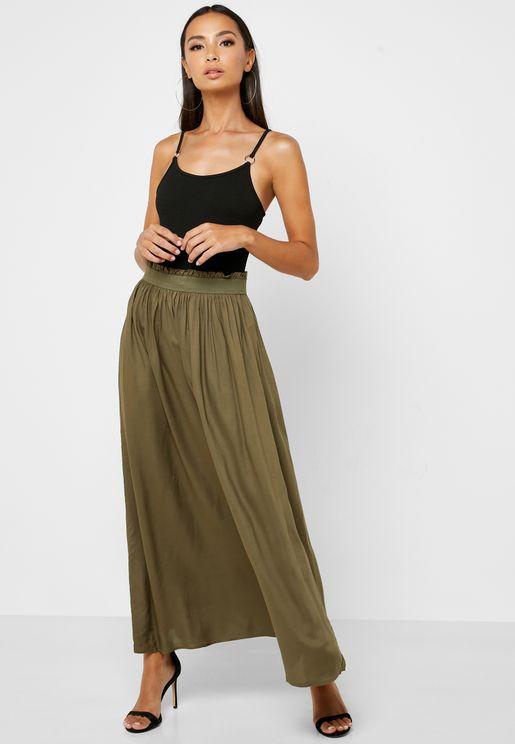 Ruched Waist Maxi Skirt
