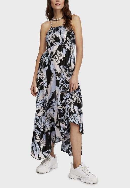 Heat Wave Printed Shirred Dress