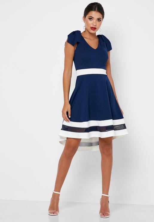 فستان سكاتر مزين بفيونكة