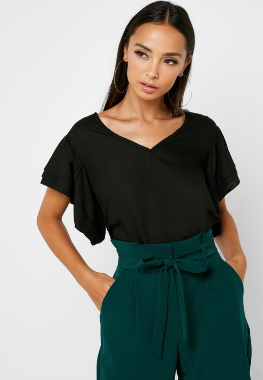 V-Neck Layered Sleeve Top