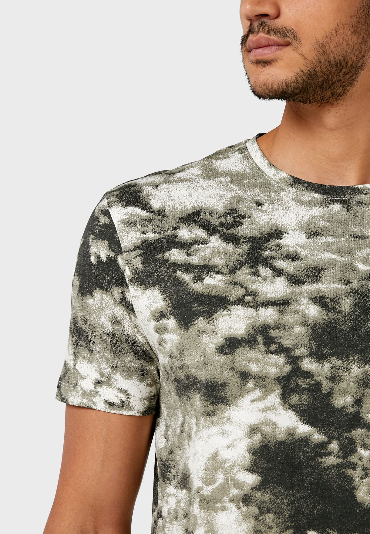 Marble Print Crew Neck T-Shirt