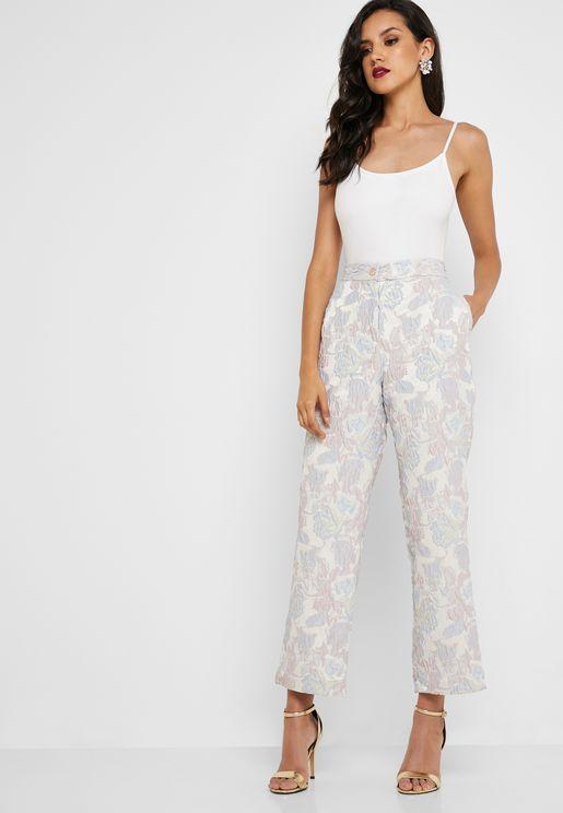Floral Embossed Pants