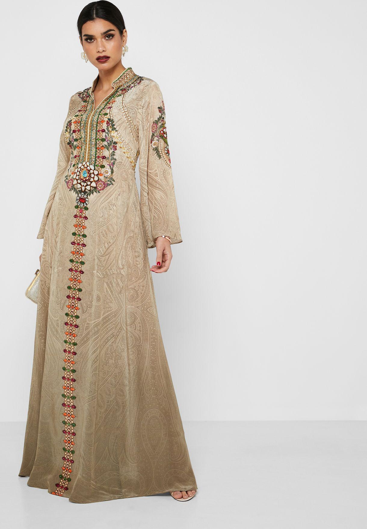 Embellished Printed Kaftan