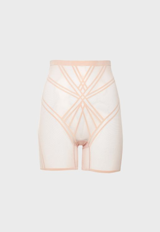 High Waist Mesh Detail Shorts