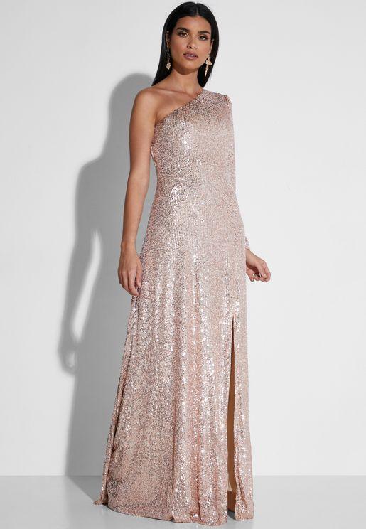 Sequin One Shoulder Maxi Dress
