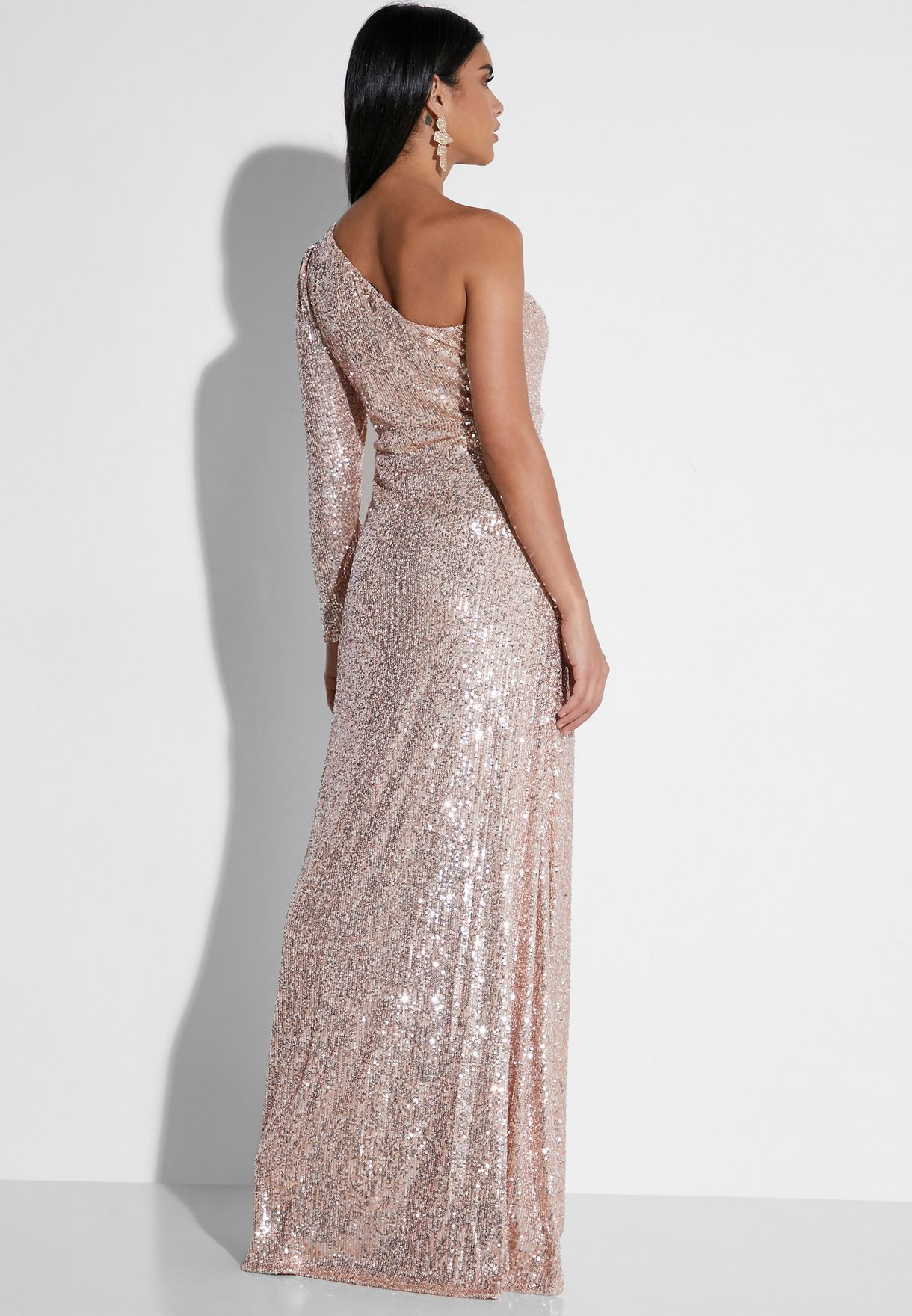 Sequin One Shoulder Maxi Dress