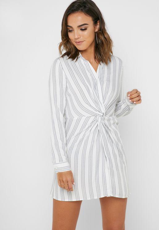 f3935a77b64a Front Twist Striped Dress