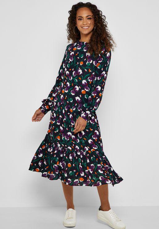 Ruffle Hem Floral Printed Dress