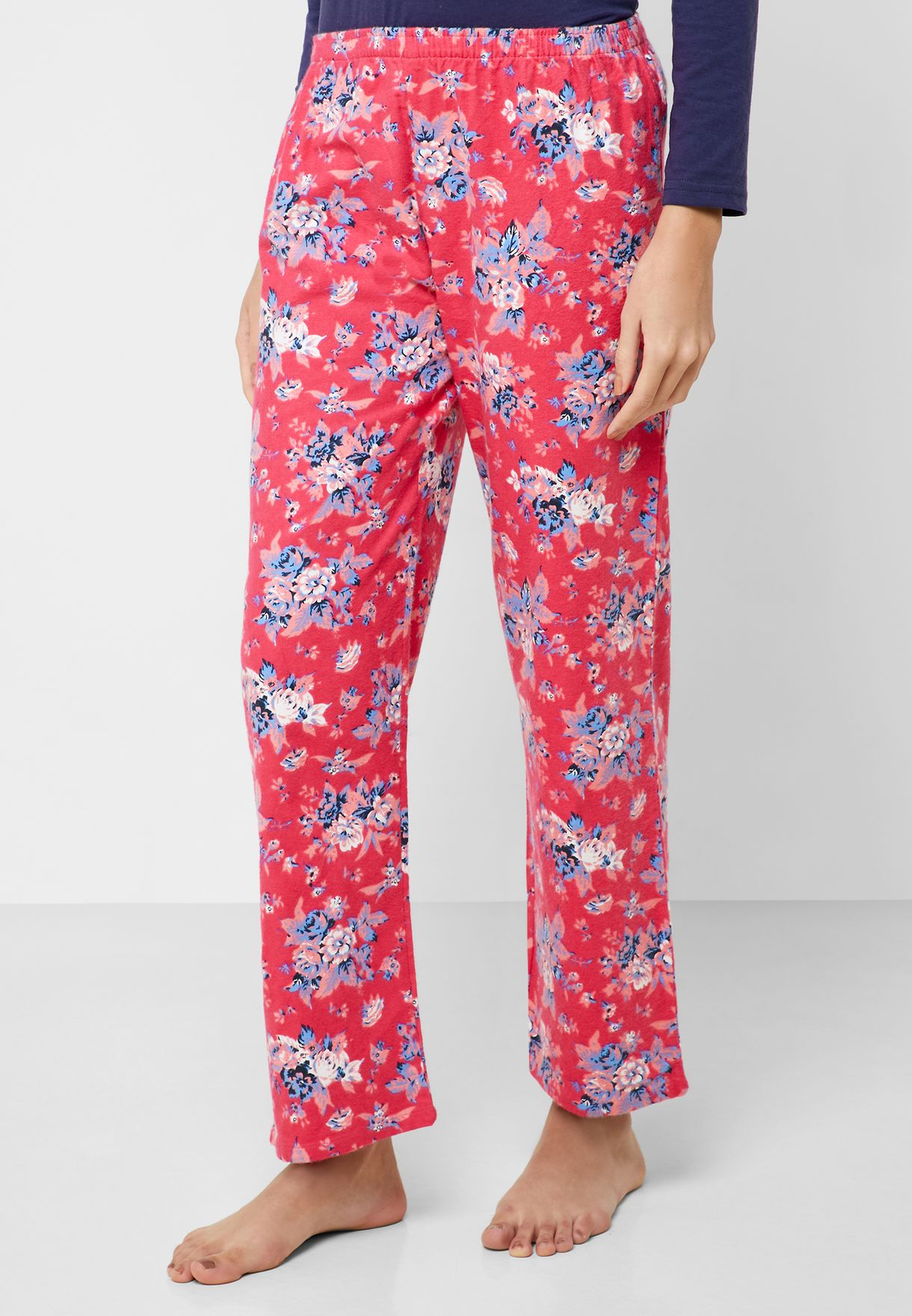 Contrast Detail T-Shirt & Printed Pyjama Set