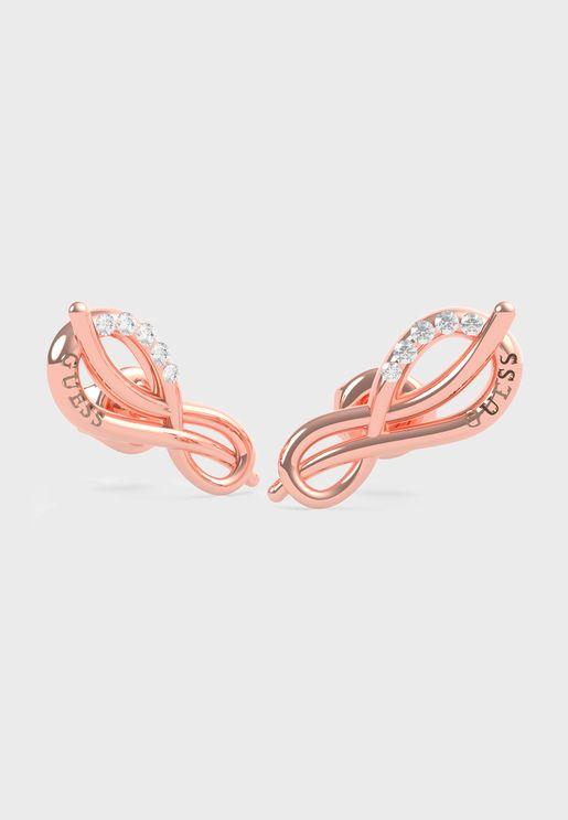 Pave Infinity Symbol Stud  Earrings