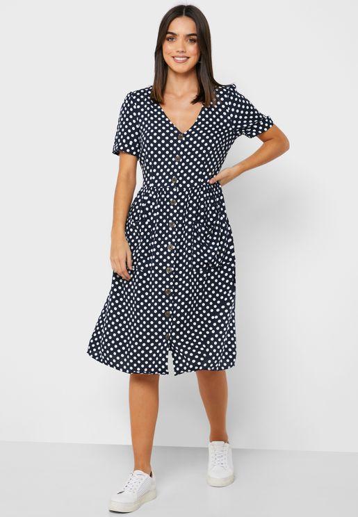 Button Through Spot Dress