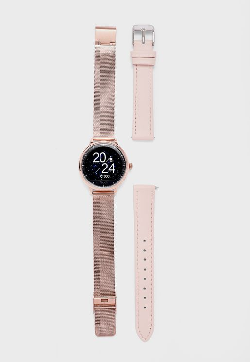 Leather Strap Smart Watch Set