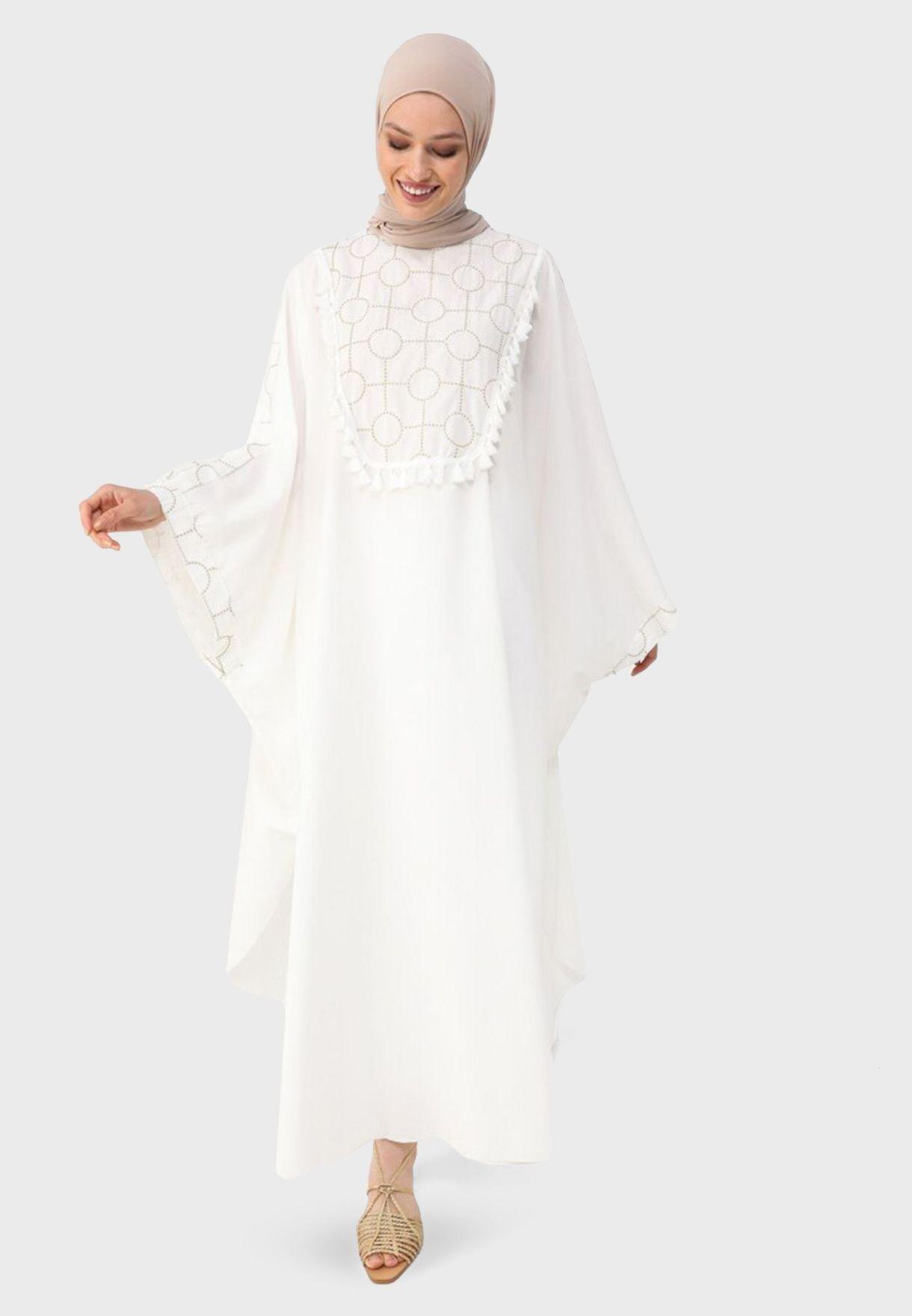 Ruffle Detail Printed Abaya