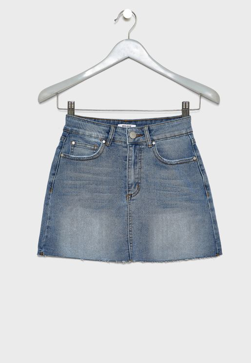 Kids Bleached Denim Skirt