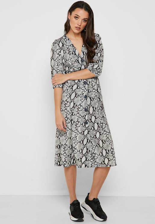 Snake Print Button Front Midi Dress