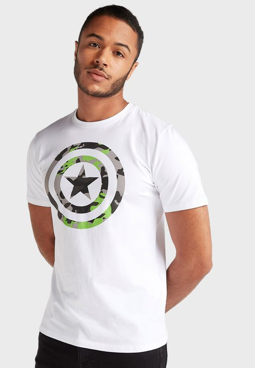 Captain America Logo Crew Neck T-Shirt