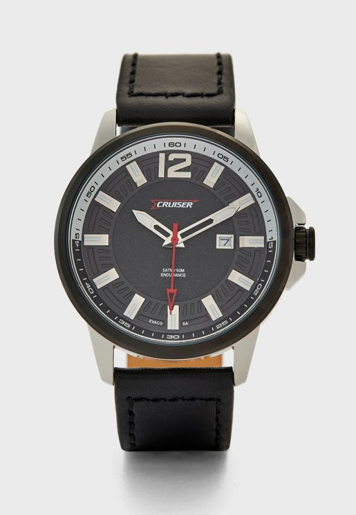 Leather Strap Analog Watch