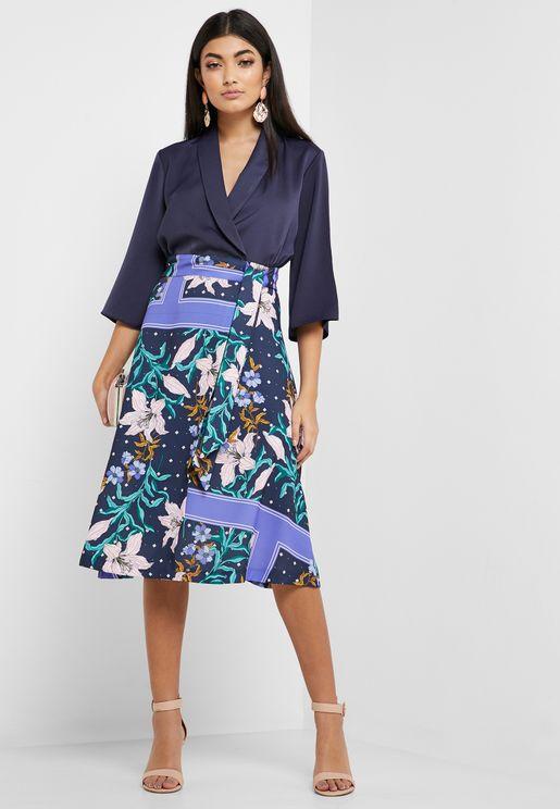 Printed Skirt Wrap Dress