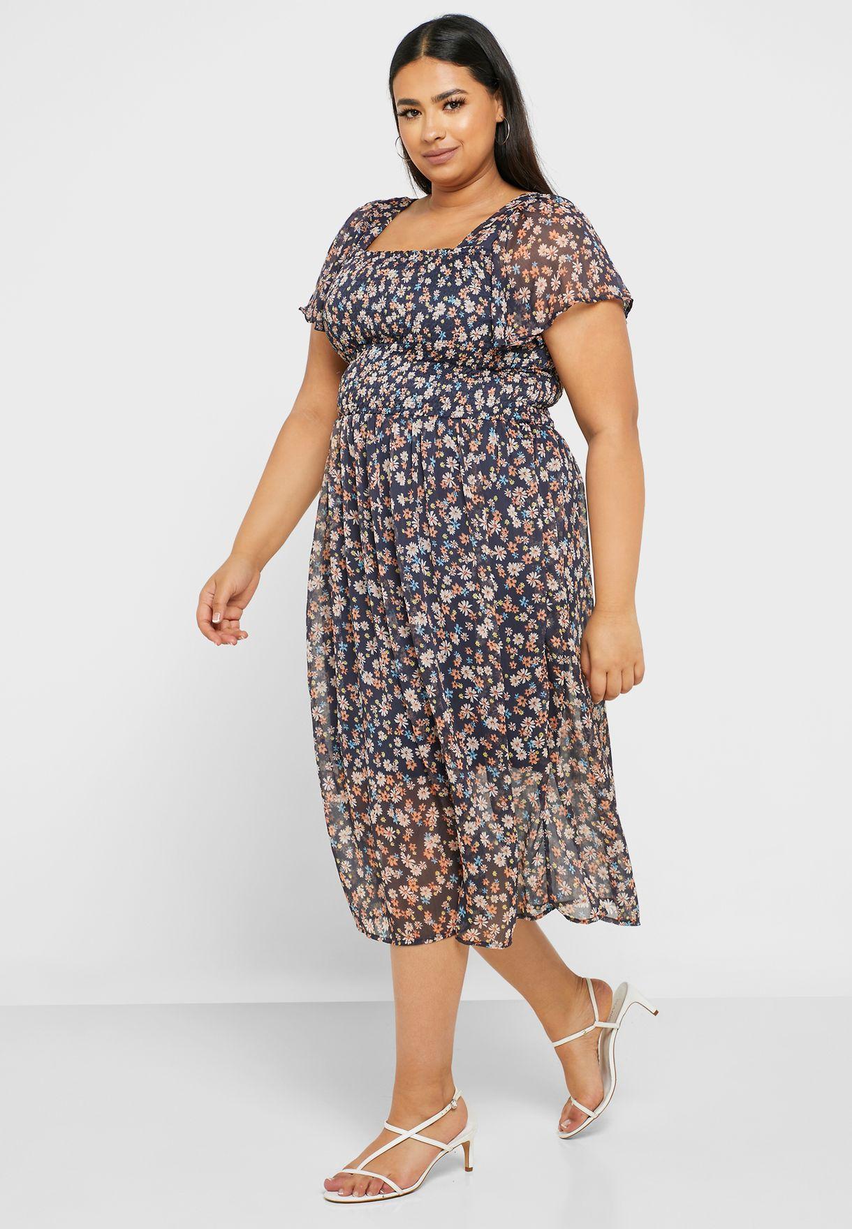 فستان مزموم مطبع باكمام فلوت