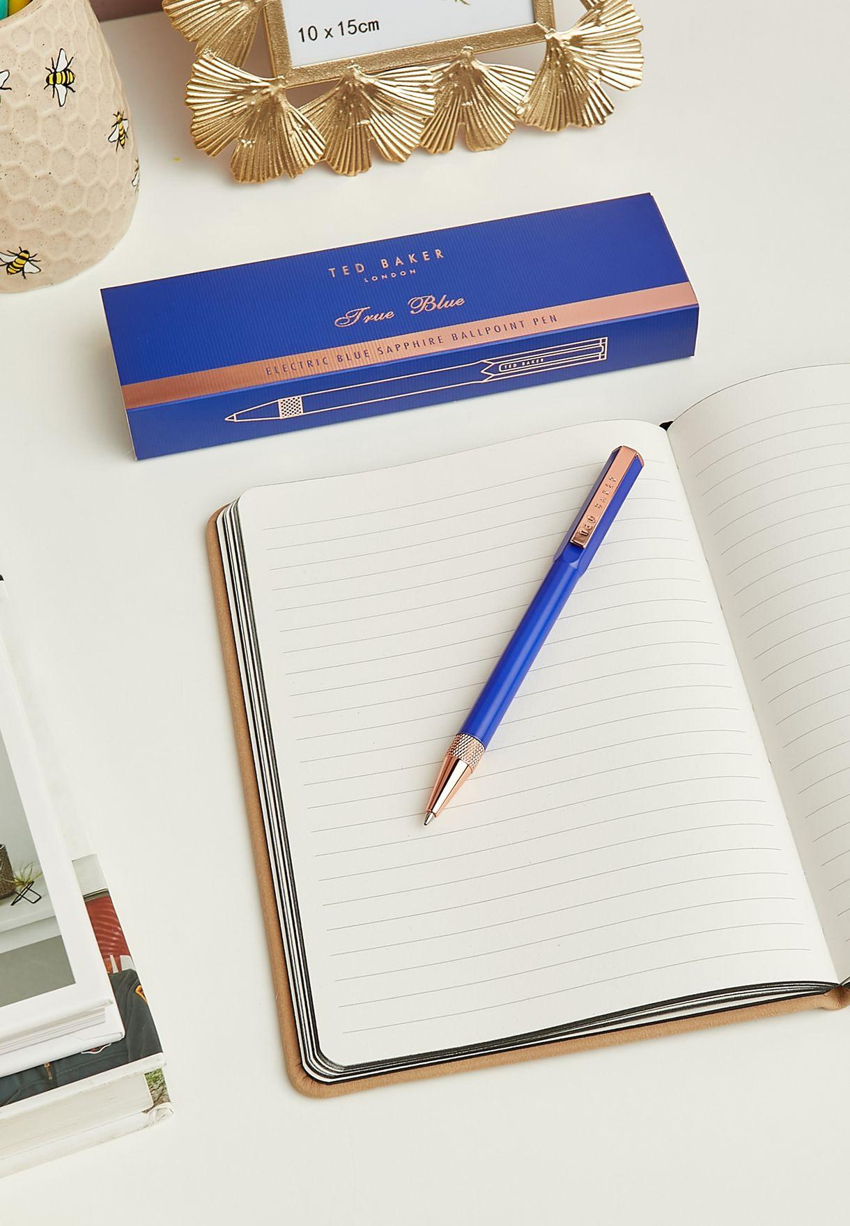 قلم حبر جاف باللون الأزرق