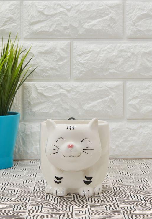 مج على شكل قطة مع علبة لاكياس الشاي