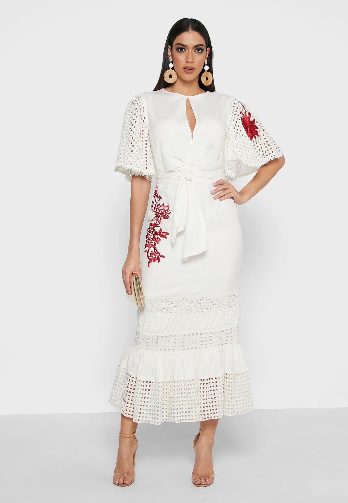Shiffli Detail Embroidered Dress