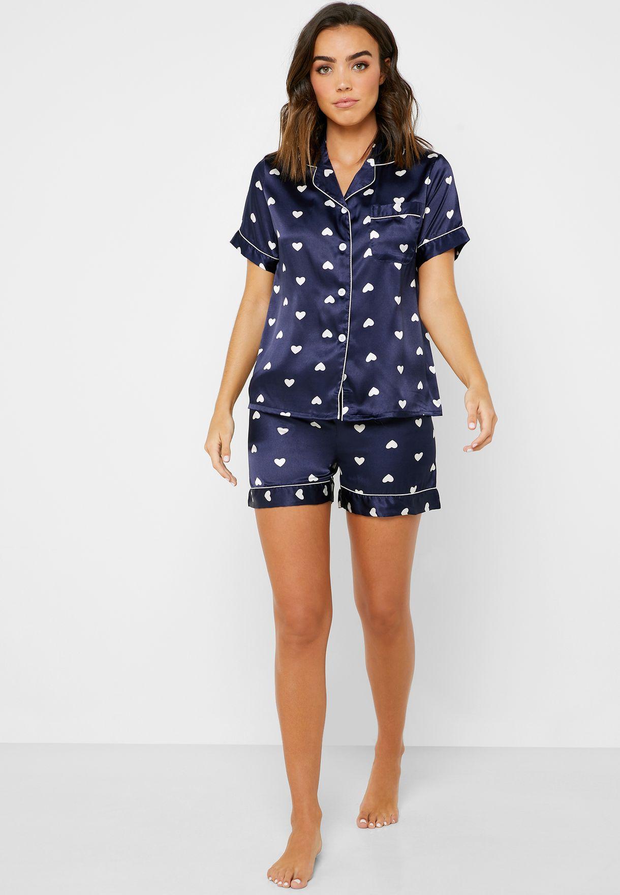 Heart Print Shirt Short Pyjama Set