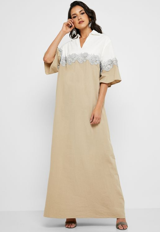 Lace Detail Colorblock Maxi Dress