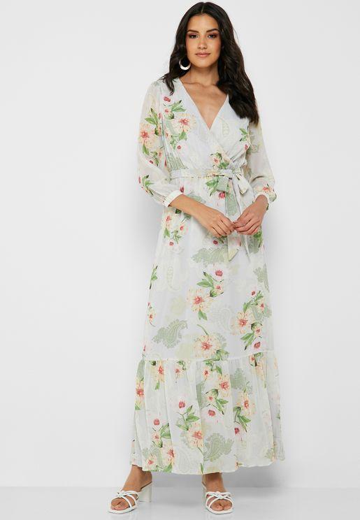19a4398a212 Printed Tie Waist Maxi Dress