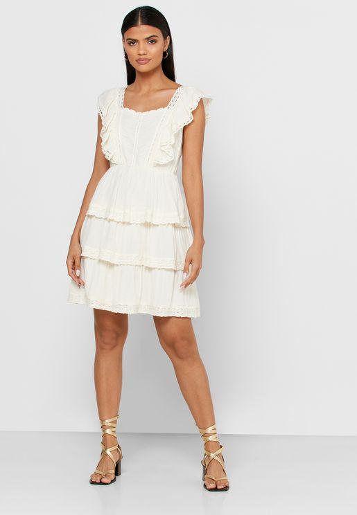 فستان طبقات بكشكش