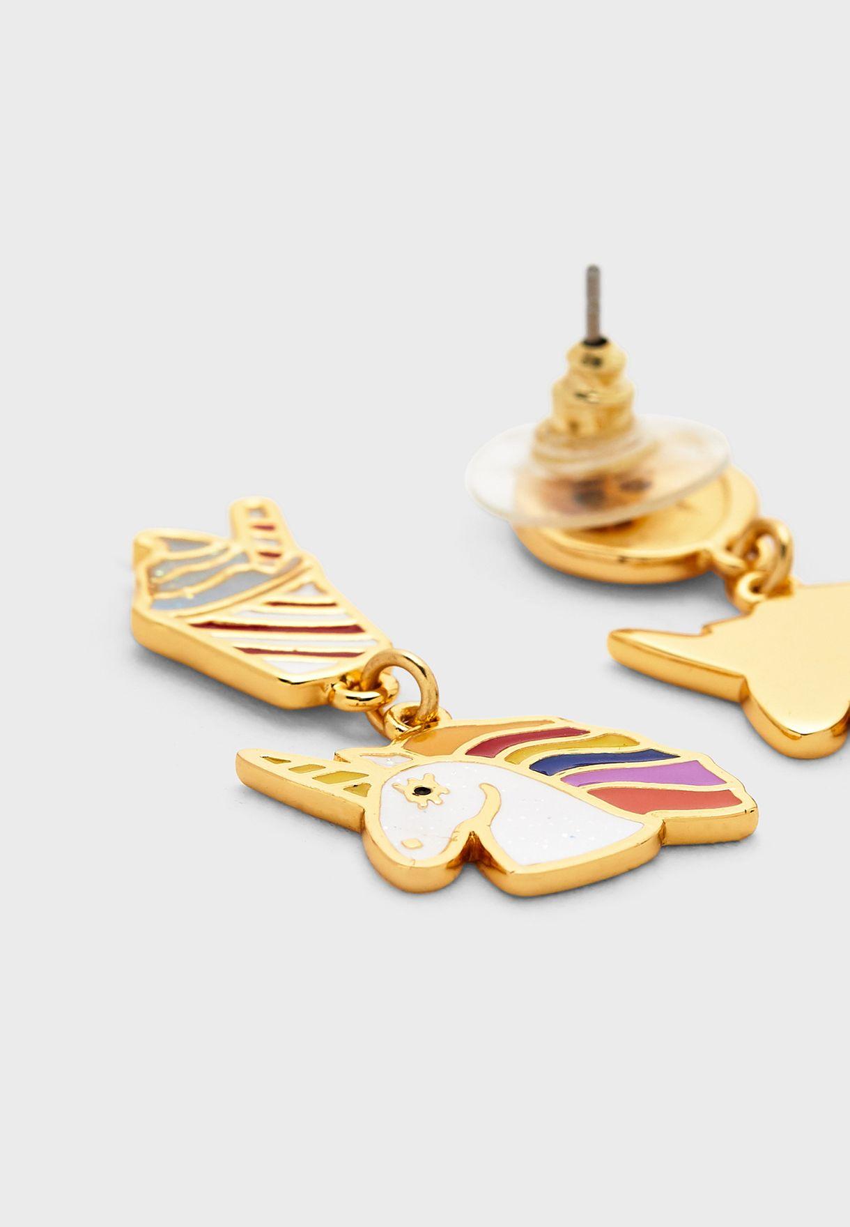 Unicorn Asymmetrical Drop Earrings