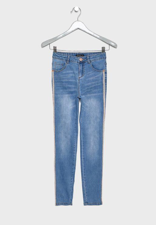 بنطال جينز بخط جانبي