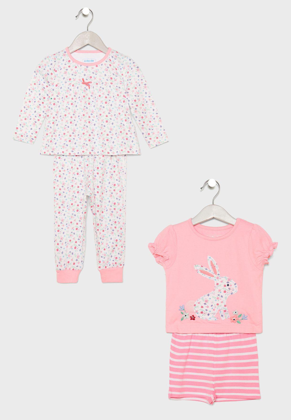 b2b8550f5db8e Shop Jojo Maman Bebe prints Kids 2 Pack Printed Pyjama Set E1110 for Kids  in UAE - 11128AT21ZGP