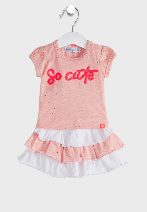 Infant Slogan Top + Skirt Set