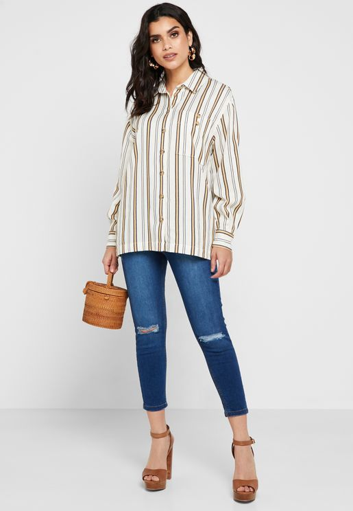 Darcy Mid Rise Ankle Grazer Skinny Ripped Jeans