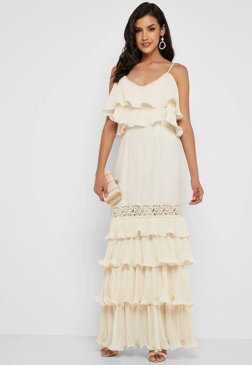 فستان ماكسي بطبقات كشكش