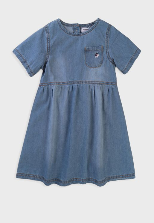 Kids Mid Wash Denim Dress