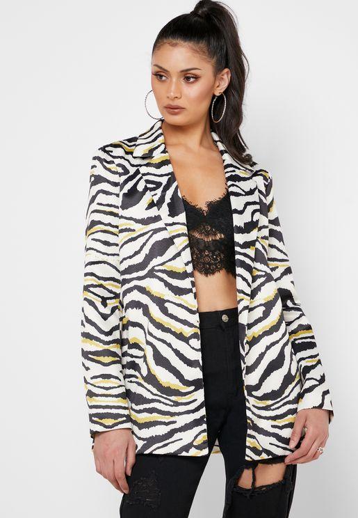 Zebra Print Tailored Blazer