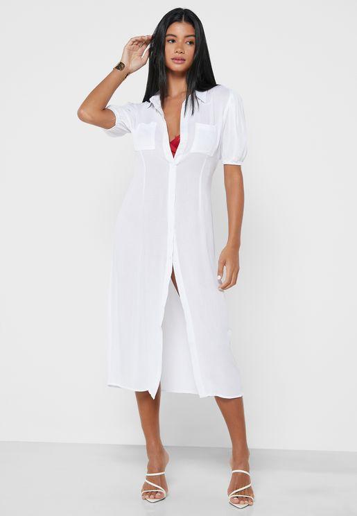 قميص طويل بنمط فستان