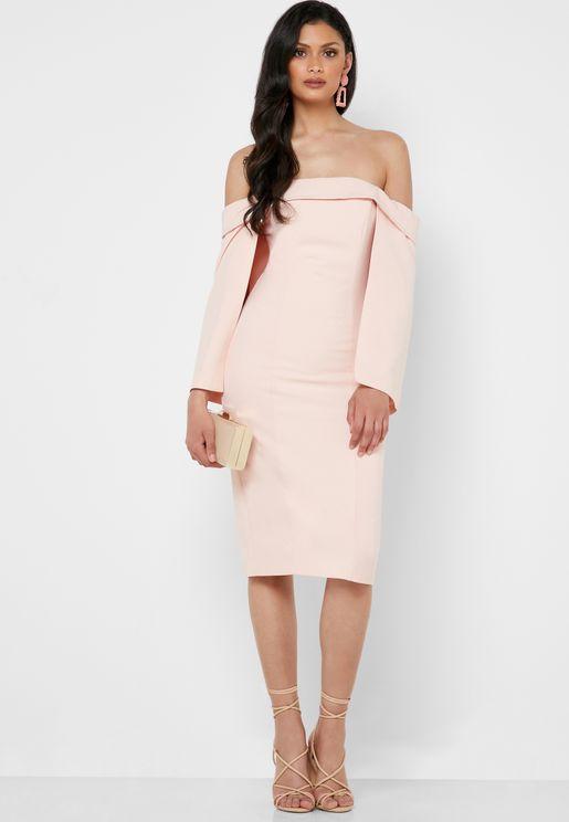 Wide Sleeve Bardot Bodycon Dress