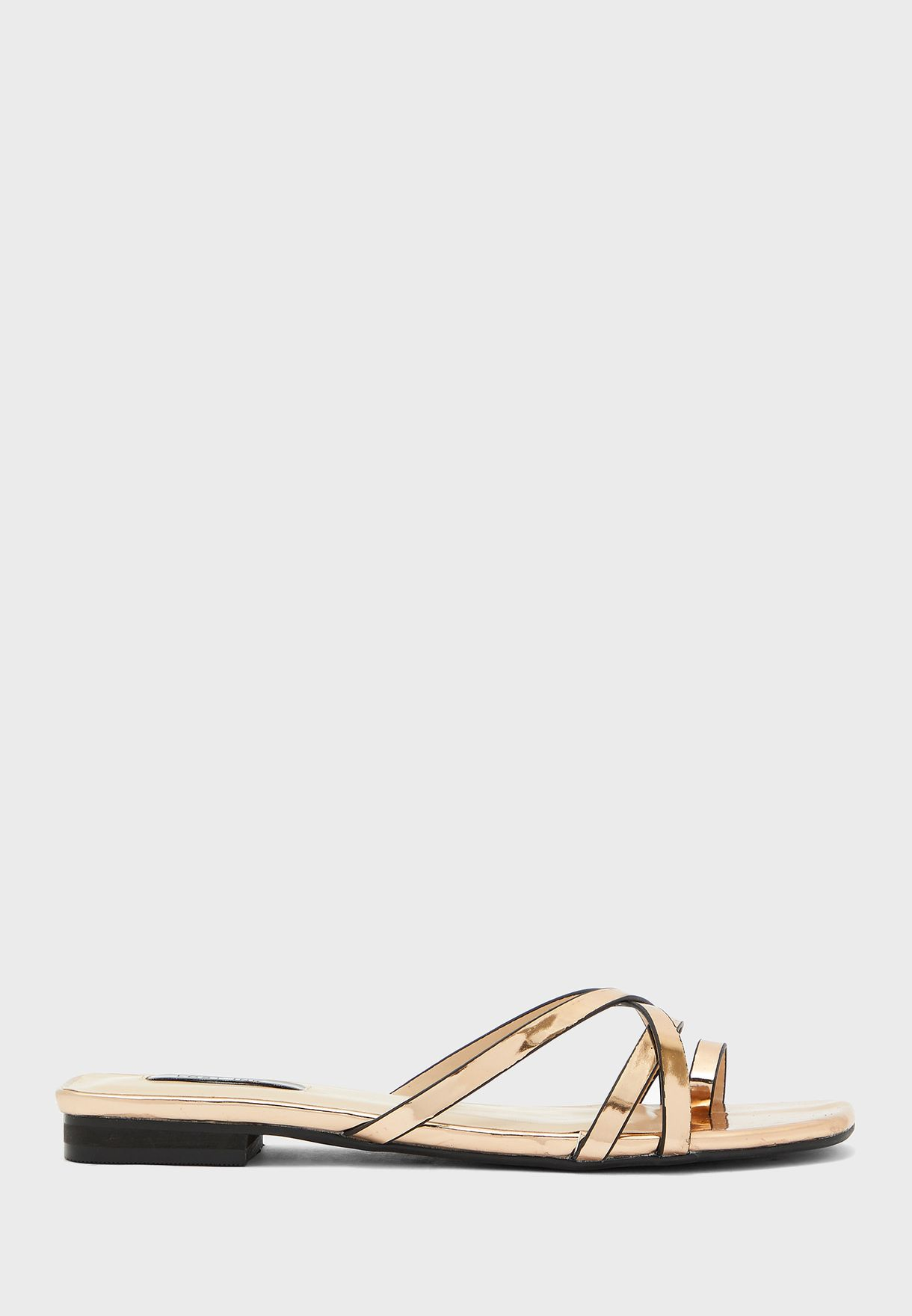 Toe Post Cross Strap Flat Sandal