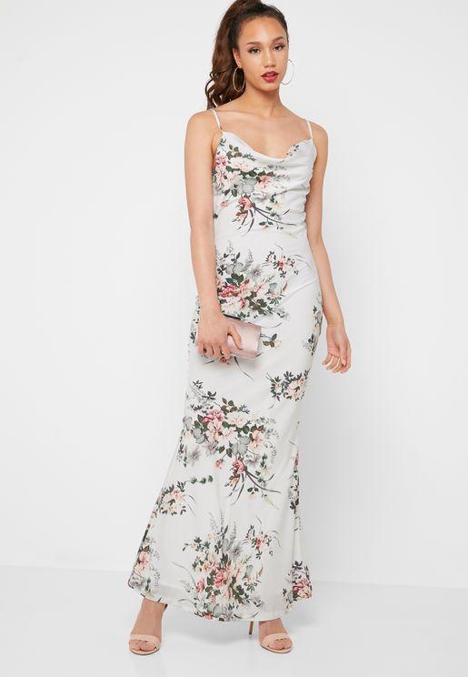 e5e81556ddd6 Floral Print Cowl Neck Maxi Dress