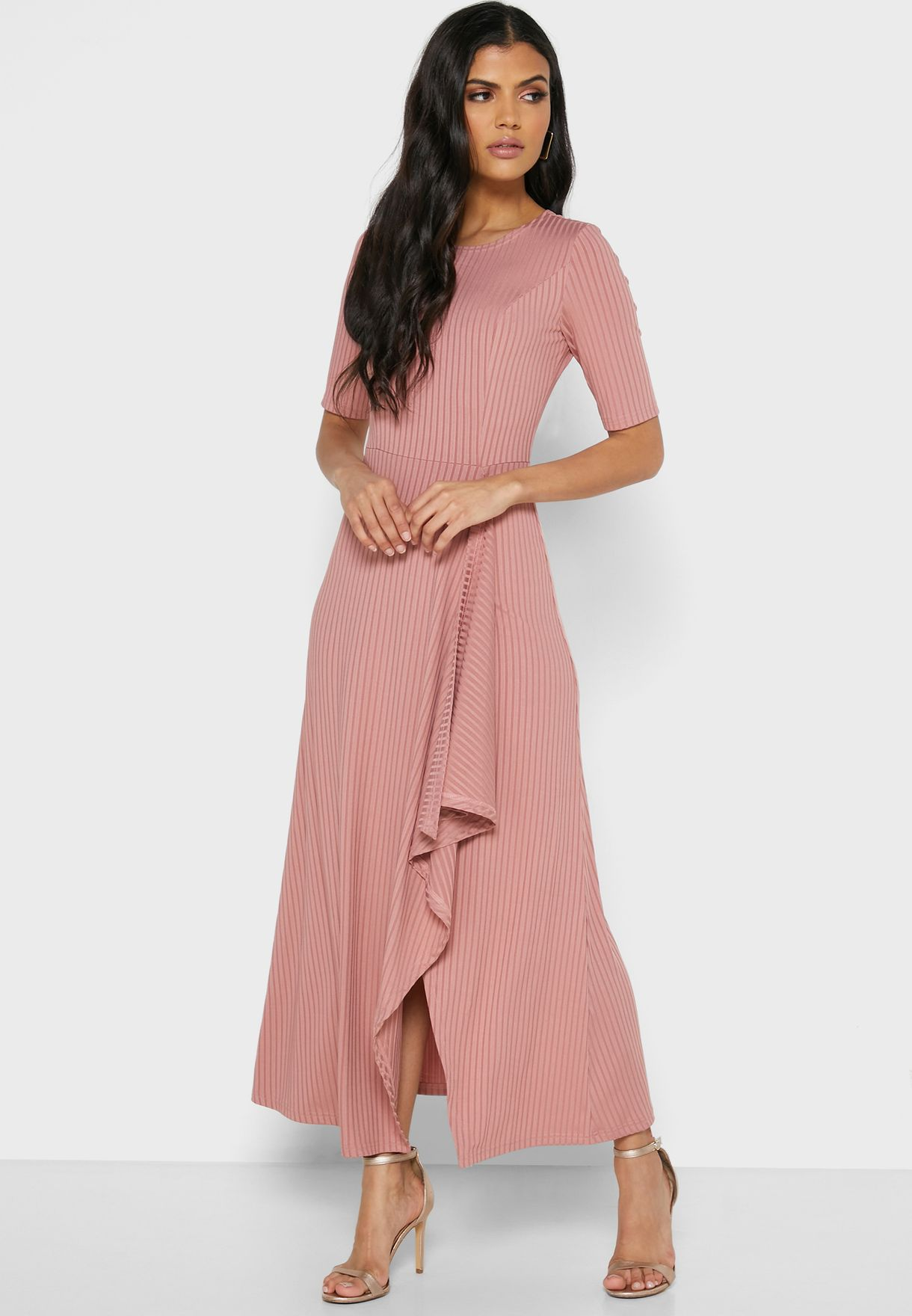 Ribbed Detail Maxi Dress
