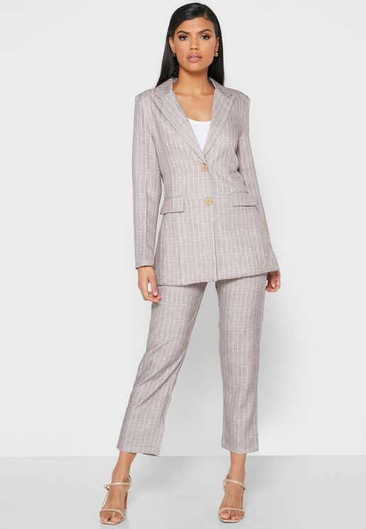 Checked Pocket Blazer Pants Set