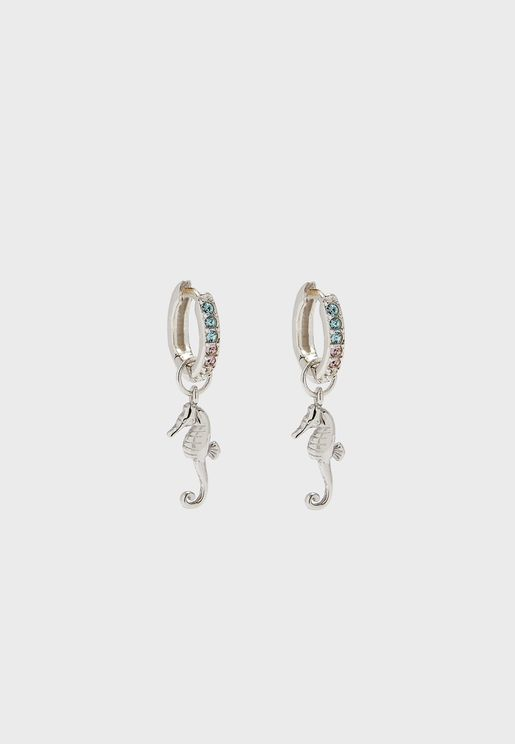 Seahorse Huggies Drop Earrings