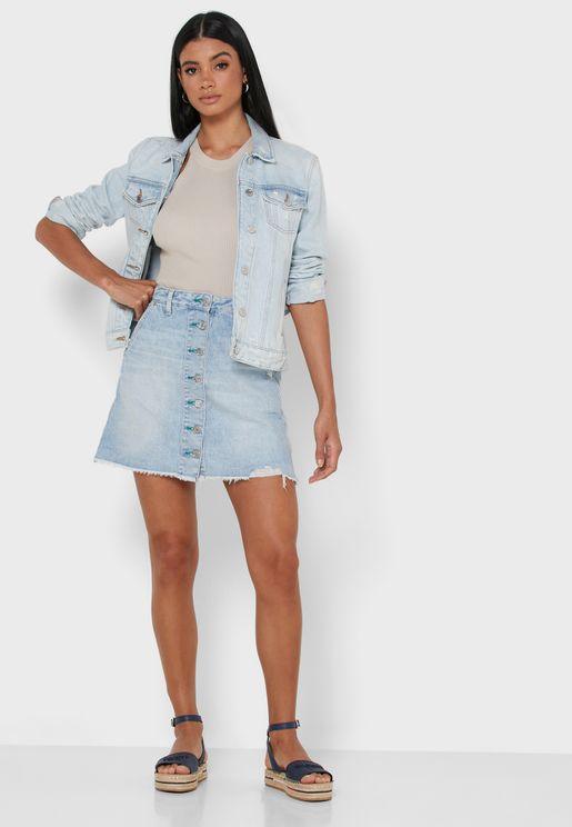 Button Through Denim Skirt