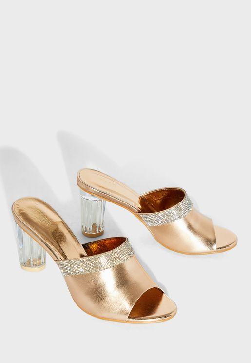 Block Heel Embellished Sandal