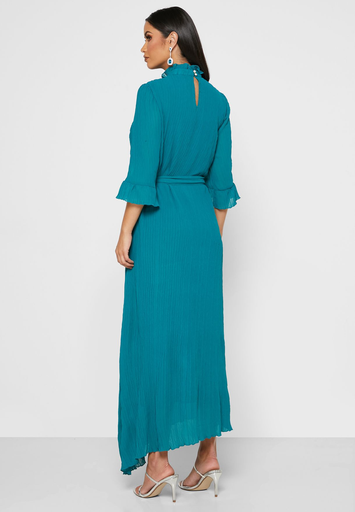 Ruffle Detail Self Tie Maxi Dress
