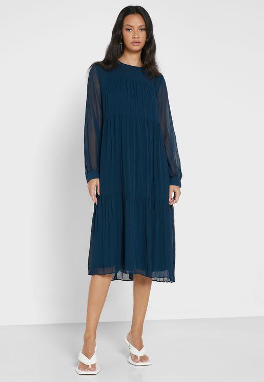 Mesh Sleeves Tiered Midi Dress