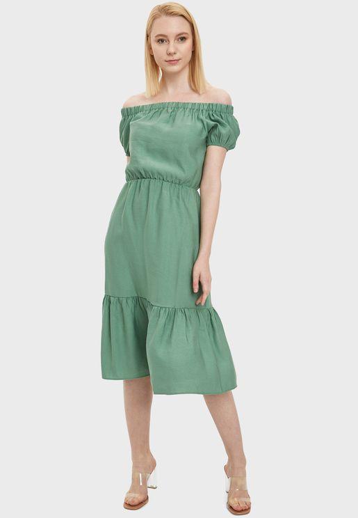 Bardot Ruffle Hem Dress